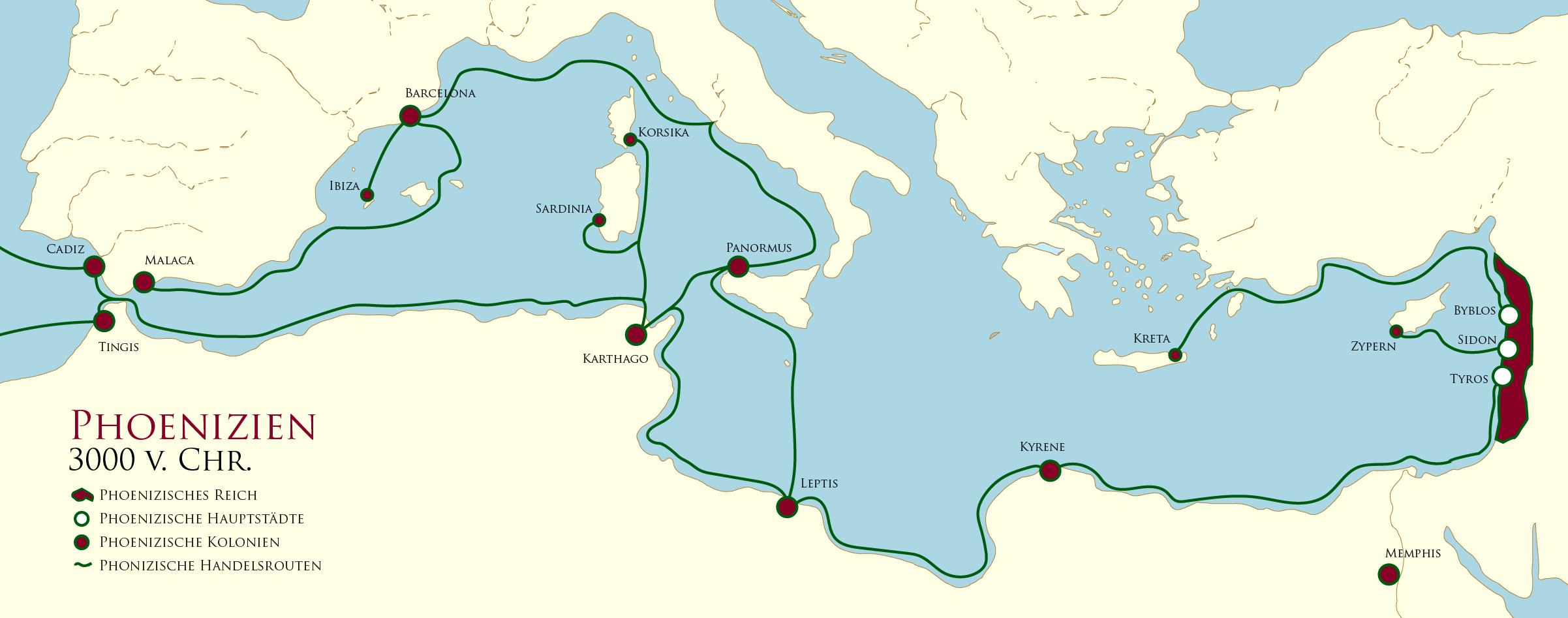 Handelsruten der Phönizier